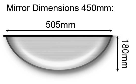 450mm Full Dome Mirror Dimensions