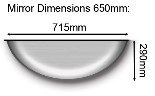 650mm Full Dome Mirror Dimensions