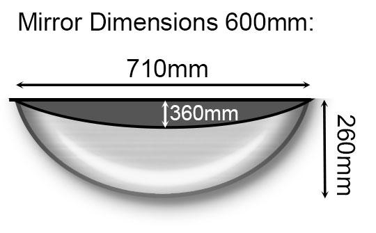 600mm Half Dome Mirror Dimensions